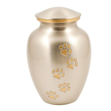 Along with an individual cremation, a selection of urns is available from AWL to store your beloved pet's ashes in, such as this silver paw print urn.