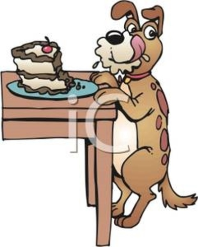 cartoon,dog,eating,cake