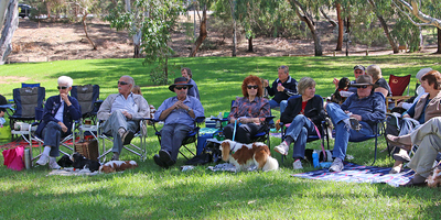 Cavaliers and their people under the shady trees at Cavalier Capers