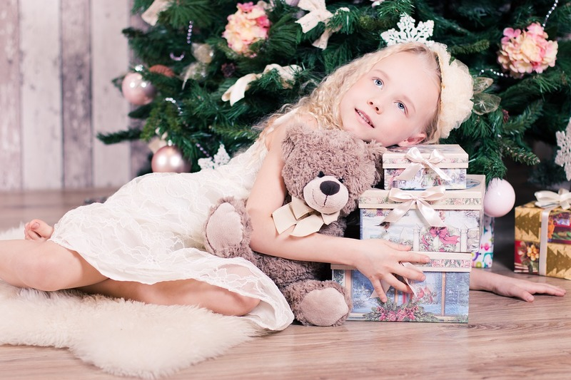 Girl and Christmas presents
