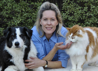 Pictured here is Dr Marie de Lint of LetMeGo with her dog Mozzie & cat Sweep.  (Image courtesy & copyright of LetMeGo)